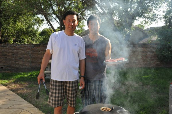 Dad and I getting ready to grill a delicious rib eye steak.