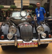 Al Dakshi with his 1958 Jaguar XK150 Drophead Coupe which bagged the 2015 Sultan Ibrahim Cup