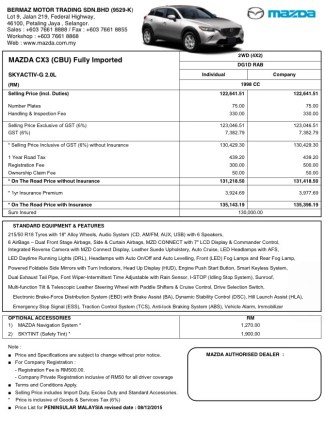 Mazda CX-3 Malaysian price list