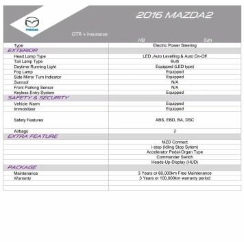2016 Mazda 2 spec sheet 2