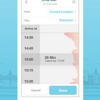 Waze Planned Drives Screen on iOS