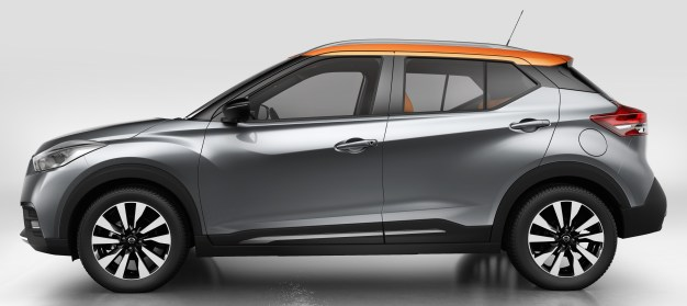 """Nissan Kicks combines emotion and practicality by blending familiar Nissan design signatures with striking modern themes that presage future models. Among those established design signatures are Nissan's V-motion grille, boomerang head- and taillights and the floating roof with a """"wrap-around visor"""" look to the windscreen and side glass."""