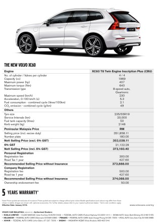 XC60 T8 TE CBU Price List R3