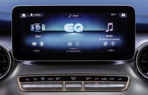 Der neue Mercedes-Benz EQV - Interieur, intuitive Mercedes-Benz User Experience (MBUX) mit 10-Zoll-Touchscreen;Stromverbrauch kombiniert: 27,0 kWh/100 km; CO2-Emissionen kombiniert: 0 g/km*, Angaben vorläufig The new Mercedes-Benz EQV – Interior, intuitive Mercedes-Benz User Experience (MBUX) with 10-inch touch screen;Combined power consumption: 27.0 kWh/100 km; combined CO2 emissions: 0 g/km*, provisional figures