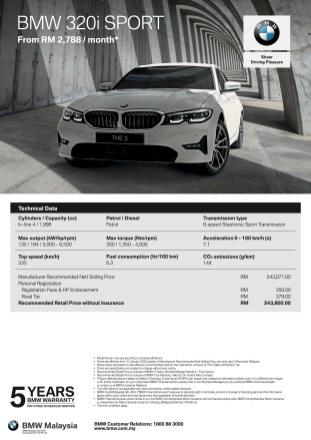 BMW 320i Sport Spec Sheet