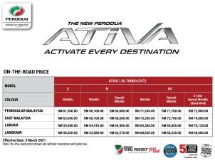 2021 Perodua Ativa OTR official price list Malaysia-1