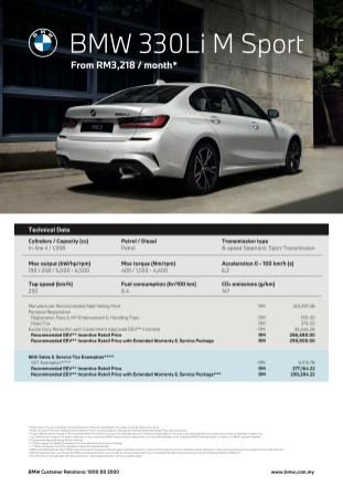 BMW 330Li M Sport price list 1