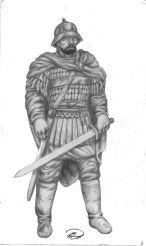 Bysantinsk Befälhavare teckning m återställd svärta