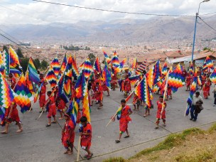 All participants walk up the hill from downtown Cusco