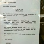 Landlord taken possesion notice in a restaurant window