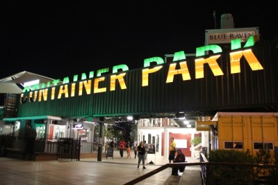 las-vegas-downtown-project-tony-hsieh-tour-container-park-at-night