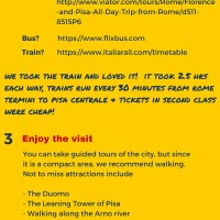 How to do a day trip to Pisa from Rome - An Infographic!