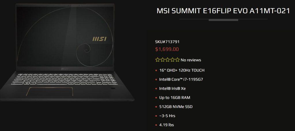 MSI-Summit-i7-1195g7