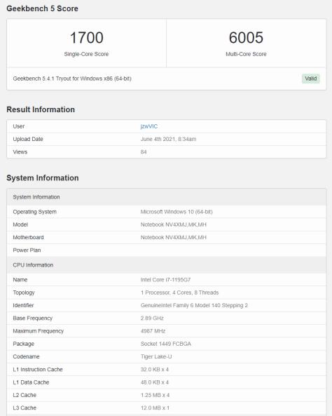 Intel-i7-1195G7-Geekbench