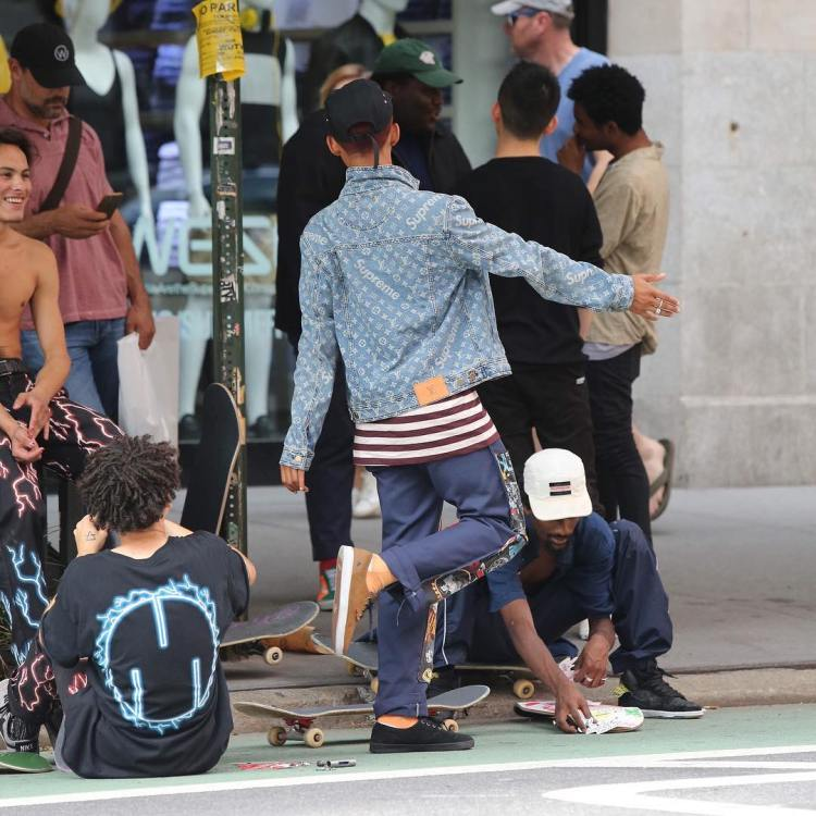 SPOTTED: Jaden Smith In Louis Vuitton x Supreme Jacket And ...