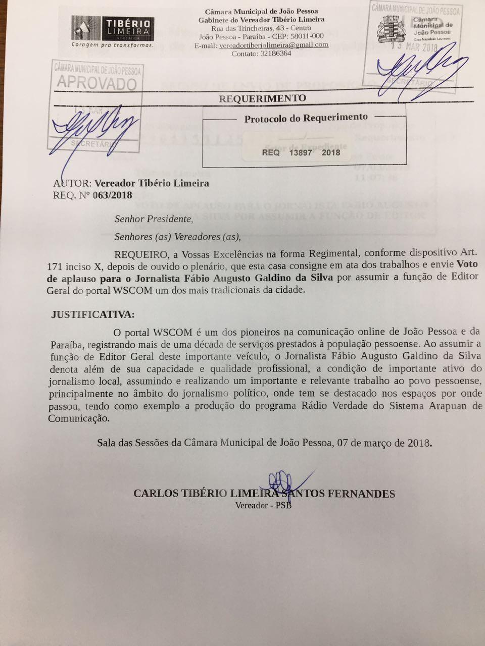 Jornalista Fábio Augusto recebe Voto de Aplauso na CMJP após nova ascensão na profissão