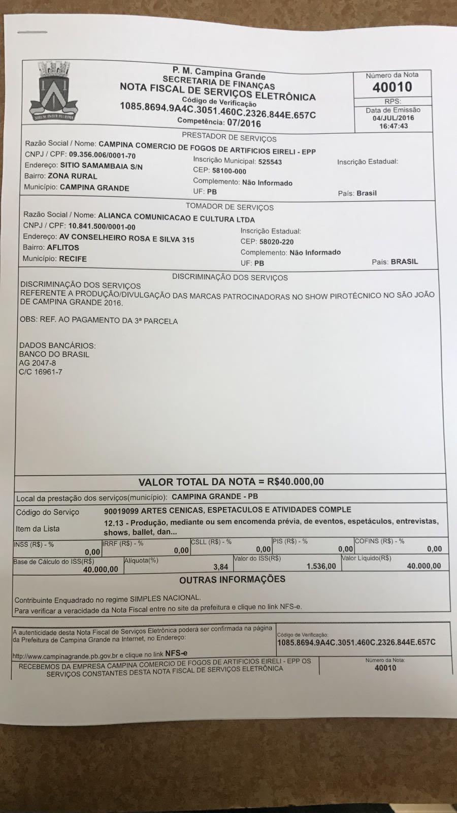 Empresário cobra de Romero R$ 80 mil em pagamentos referentes a serviços prestados ao São João de 2016