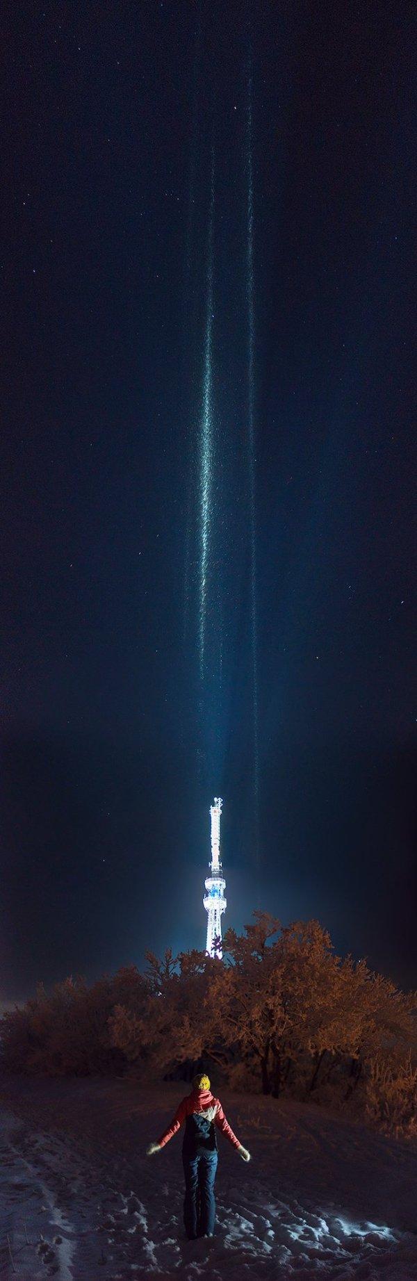 Световые столбы на Машуке
