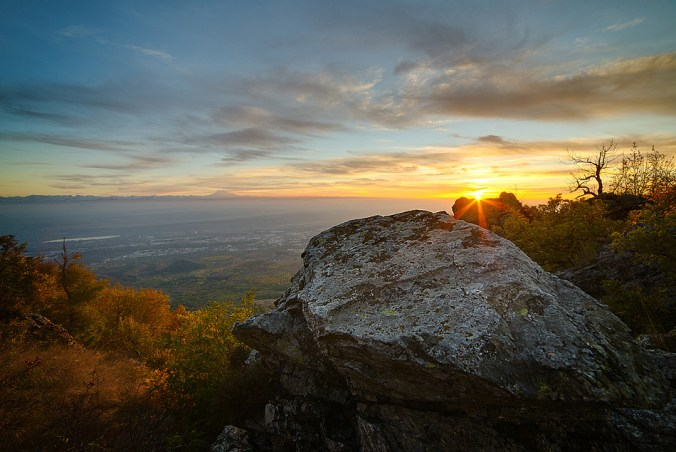 Фото - закат на Бештау
