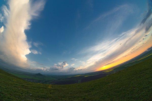 Фишайная фотография заката