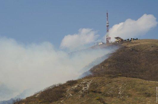 Пожар на Машуке, вид с горы горячей