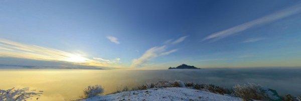 Зимний закат на вершине Машука - панорама