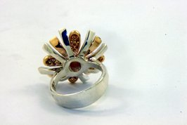 SUNBURST FLOWER Champagne, Yellow, and Green Diamonds,14k Yellow Gold, and Sterling Silver Ring5