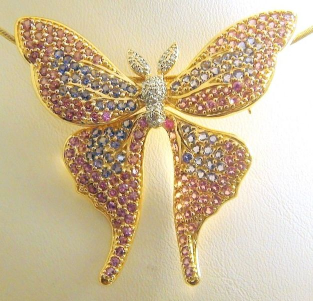14k Yellow Gold Diamond and Gemstones Butterfly Pin / Pendant 8.7 CT TW #835 $2,850.00