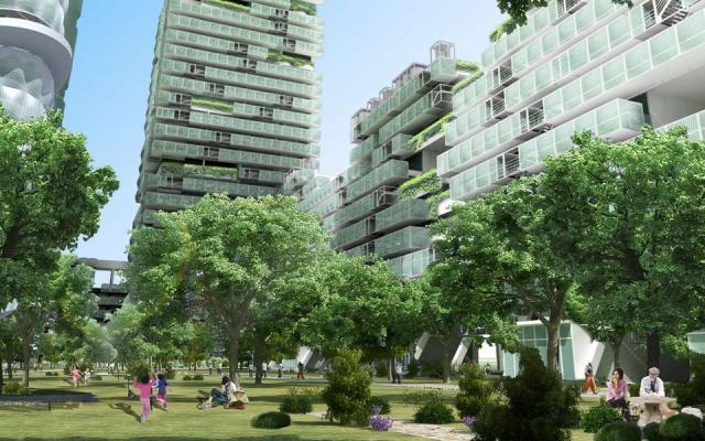 """Unutrašnja bašta - prostor oslobođen granice između enterijera i eksterijera. Gradski blokovi postaju Kule za gajenje hrane, a ulica postaje """"obradiva površina'"""