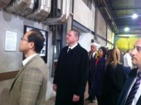 Mr. Pavle Basic 帕夫莱·巴西期 and H.E. Li Manchang 李满长 the ambassador of PR of China in Belgrade are visiting a industrial complex in Central Serbia