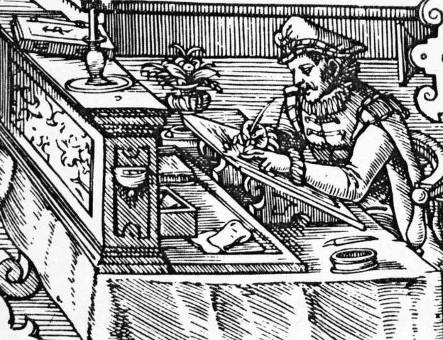 Drvorez iz 1585. prikazuje nemačkog trgovca koji vrši dvojni upis knjigovodstvenih knjiga