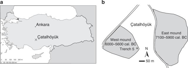 Nalazišta u Čatalhojuku locirana su na Istočnom i Zapadnom obronku (6000–5600 p.n.e.)