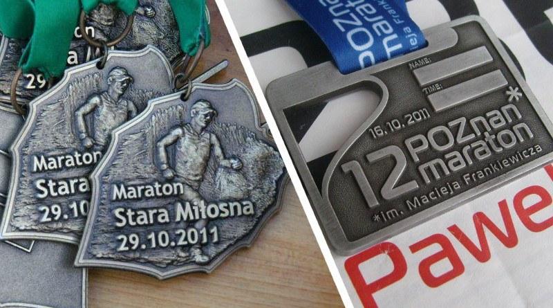 Medale z maratonow w Starej Milośnie i Poznaniu