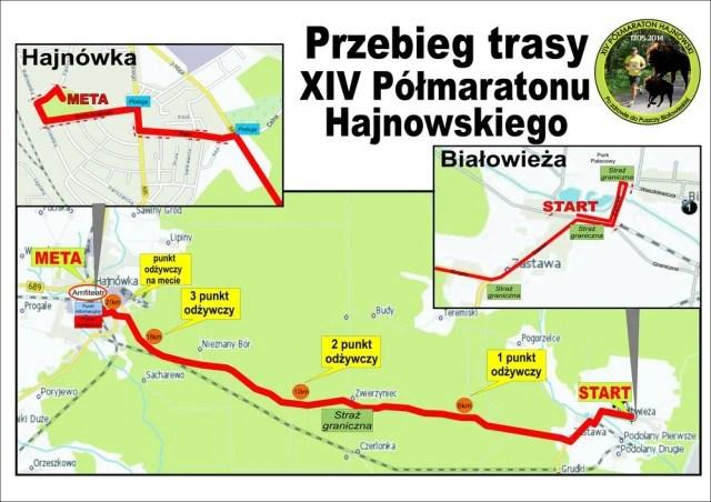 XIV Półmaraton Hajnowski - przebieg trasy