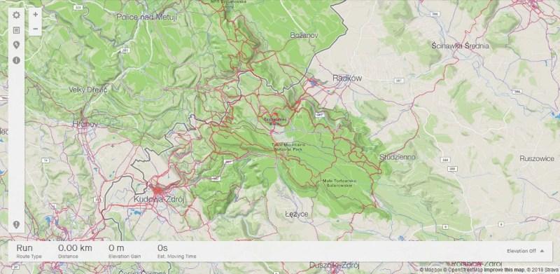 Strava Heat Map - Góry Stołowe