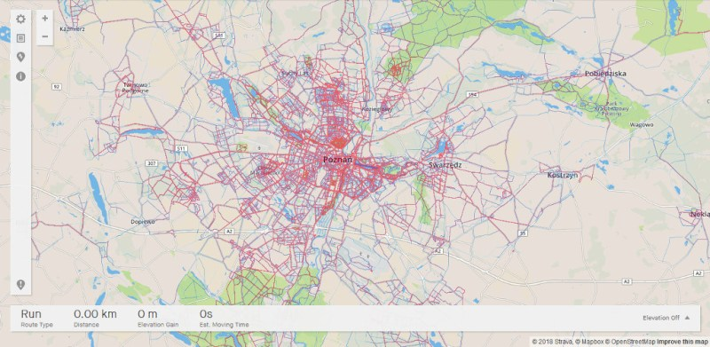 Strava Heat Map - Poznań