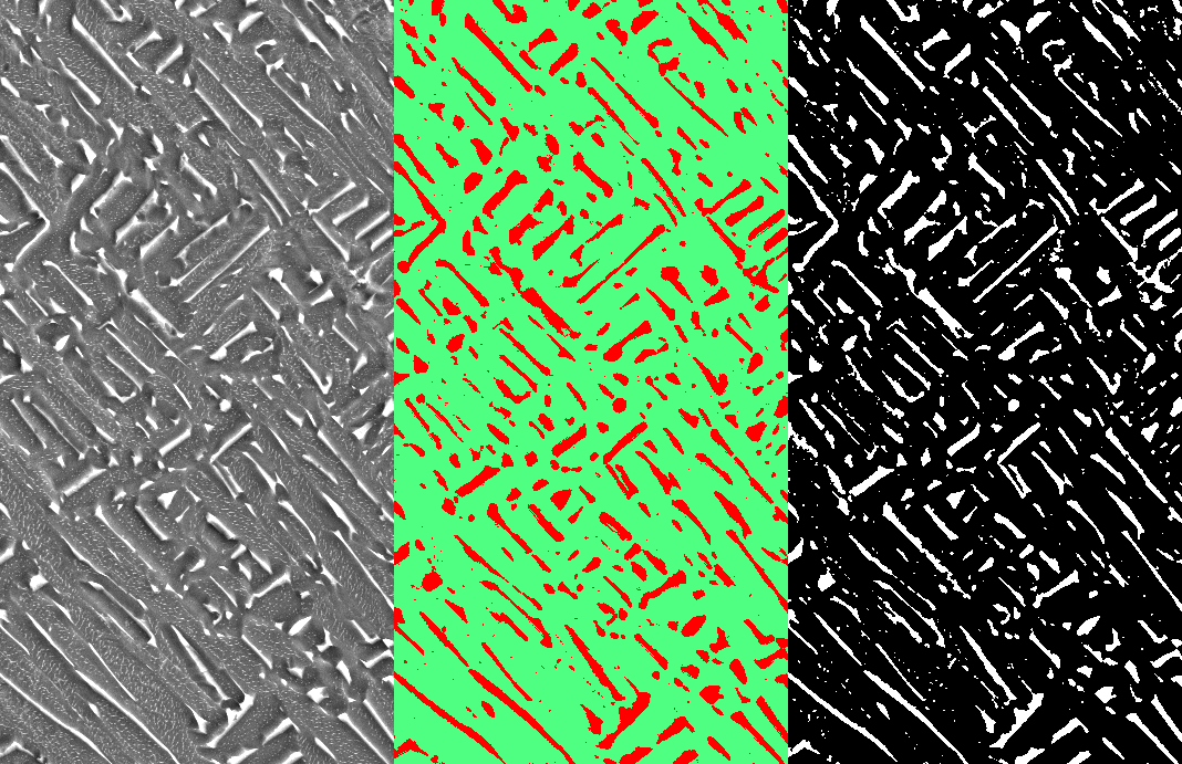 The original area (left) segmented with Trainable Weka Segmentation (center) and Automatic Thresholding (right)