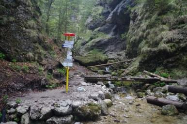 nove diery - początek szlaku biegnącego przez jeden z piękniejszych wąwozów w słowackiej małej fatrze