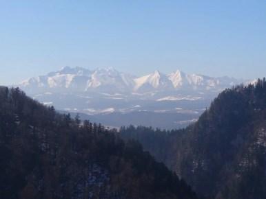 zimowy widok na tatry z sokolicy w pienińskim parku narodowym