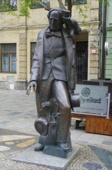 pomnik hansa christiana andersena przy hviezdoslavovo namestie w bratysławie w słowacji