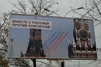 razem z rosją przeciw oligarchom, baner w tyraspolu w naddniestrzu