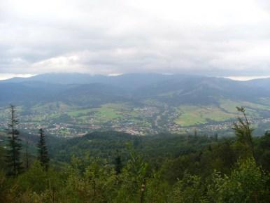 widok znad glinnego w beskidzie śląskim na węgierską górkę