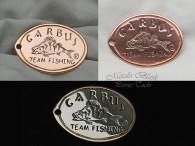 Brelok z logo Garbus Fishing, wykonany na zamówienie.