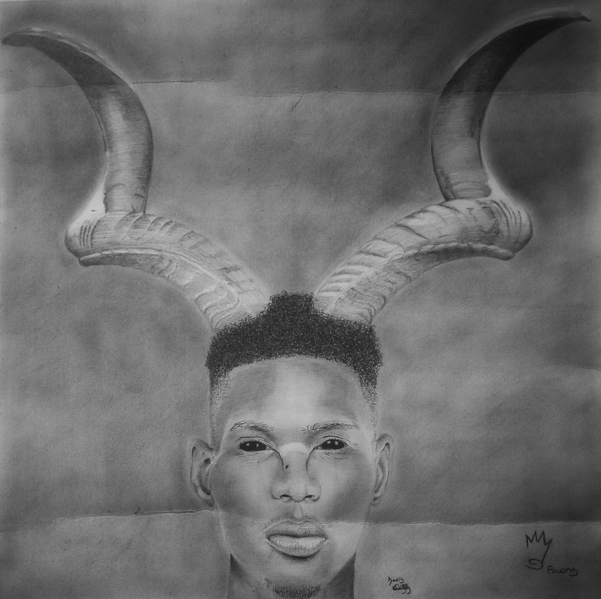 This is an Art work. A sketch of Dick David with horns