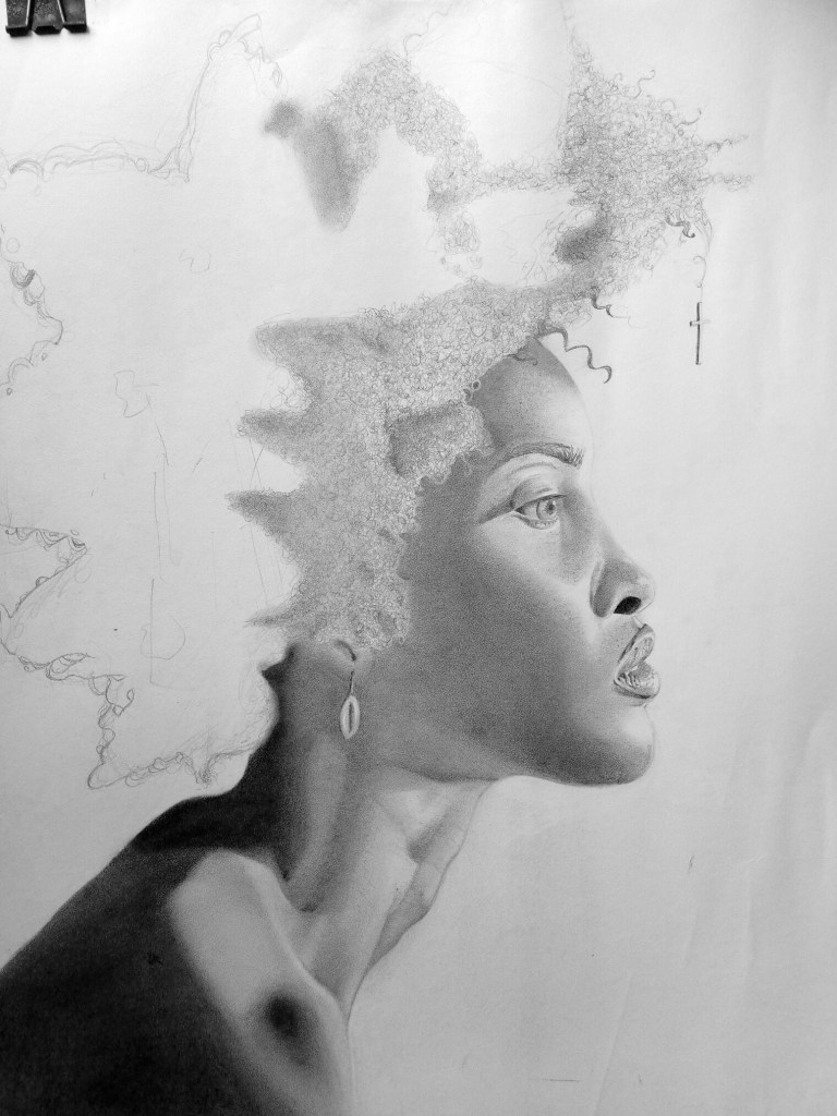 Starting the Hair drawing. Art