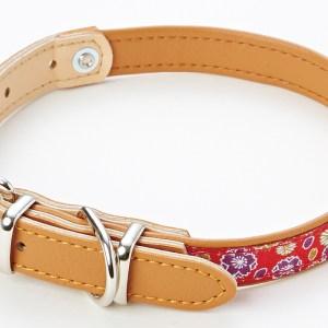 日本 Petio 犬雅櫻菊 皮革頸圈 - 紅色