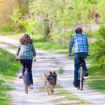 Girl and Boy Biking with Dog On Dirt Trail