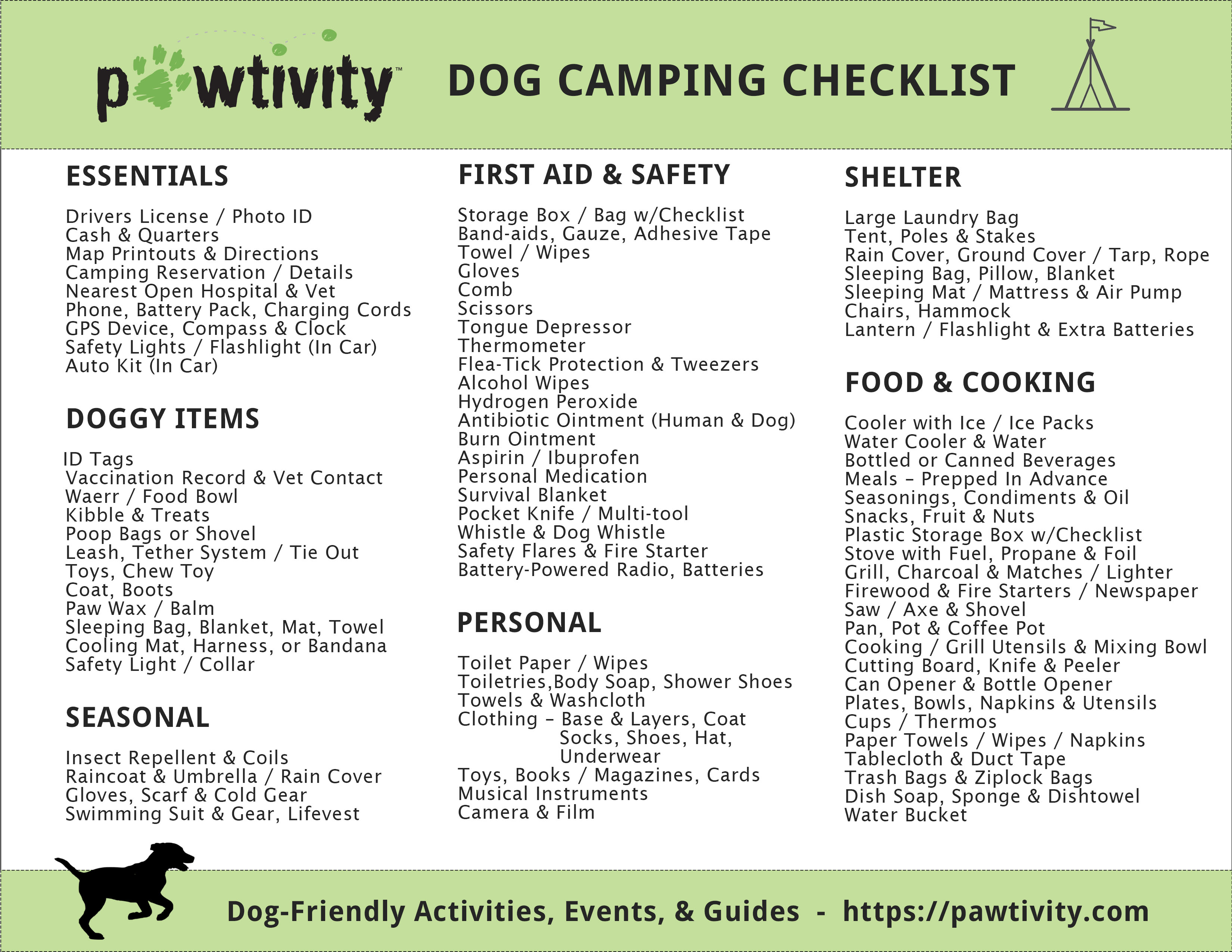 picture regarding Printable Camping Checklist named Doggy Tenting Record - The Simply just Checklist By yourself Need to have Pawtivity