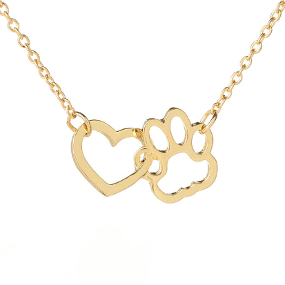 paw on my heart necklace gold
