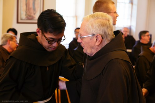Being congratulated by Fr. Jerry Zawada, a friend and inspiration